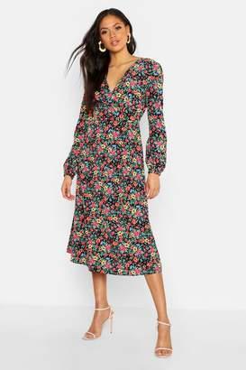 boohoo Tall Ditsy Floral Print Wrap Midi Dress