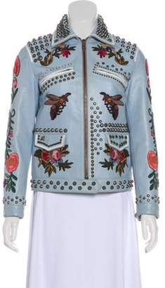 Gucci Embroidered Leather Jacket blue Embroidered Leather Jacket