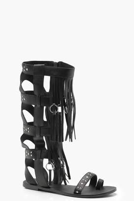 boohoo Studded Leather Gladiator Sandals