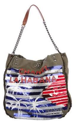 Chanel La Habana Canvas Sequin Hobo