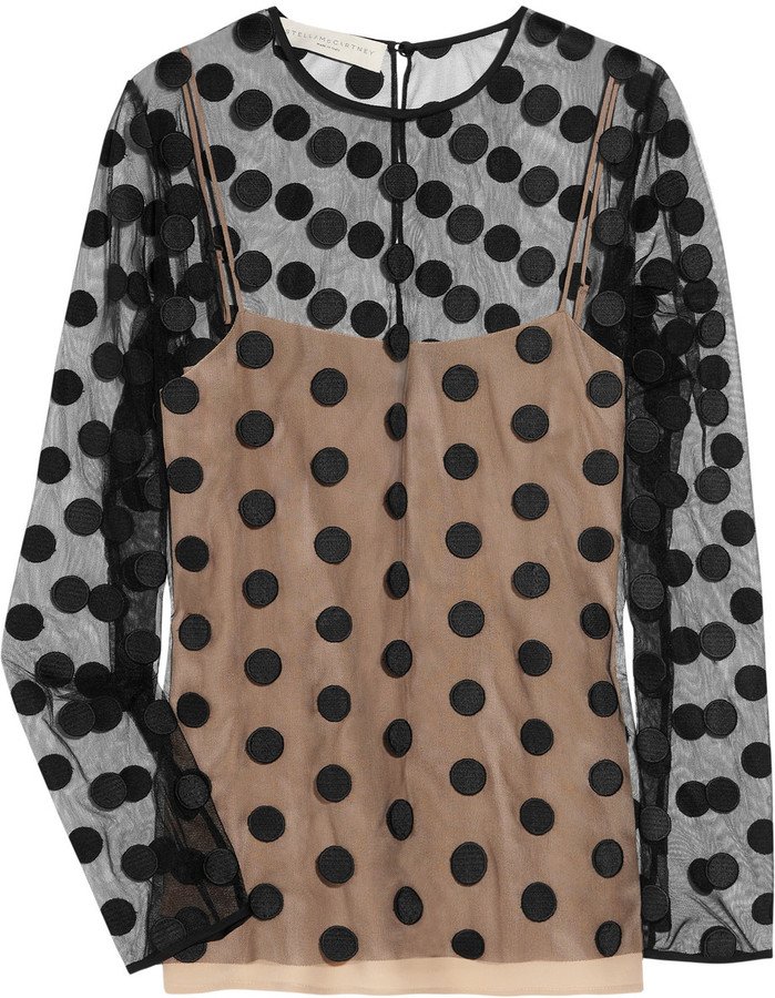 Stella McCartney Vita polka-dot tulle blouse