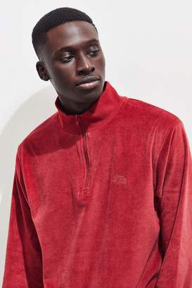 Stussy Velour Half-Zip Mock-Neck Sweatshirt