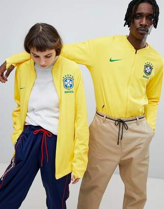 Nike Training Football Brazil Full Zip Track Jacket In Yellow 893584-749