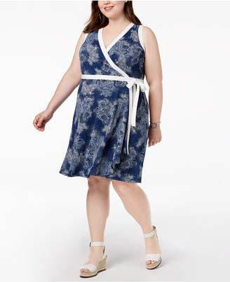 Tommy Hilfiger Plus Size Printed Sleeveless Wrap Dress