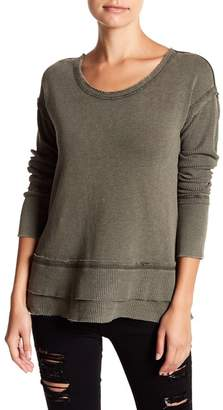Melrose and Market Long Sleeve Mixed Knit Blouse (Regular & Petite)