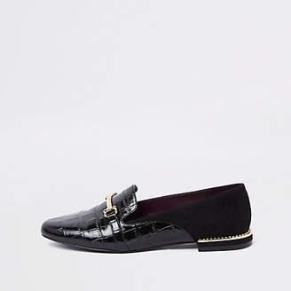 River Island Black gem heel snaffle loafers