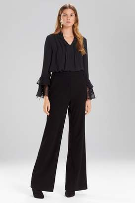 Josie Natori Solid Silky Soft Lace Ruffle Sleeve Top