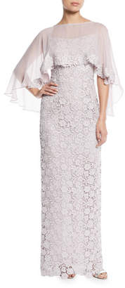 Rickie Freeman For Teri Jon Lace Column Gown w/ Chiffon Capelet