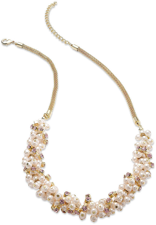 Charter Club Gold-Tone Pink Bead Cluster Frontal Necklace