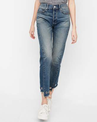 Express High Waisted Frayed Grommet Hem Original Vintage Skinny Jean