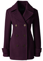 Lands' End Women's Tall Luxe Wool Peacoat-Medium Gray Heather $189 thestylecure.com