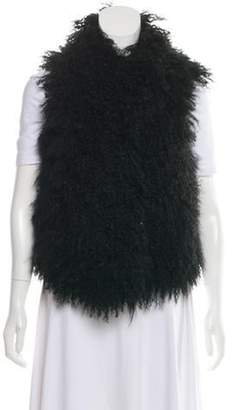 Joseph Mongolian Lamb Fur Collarless Vest Black Mongolian Lamb Fur Collarless Vest