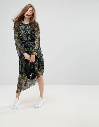 Gestuz Ebony Floral Print Asymmetric Hem Dress