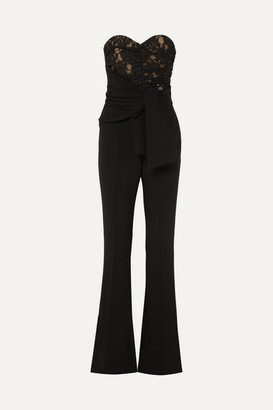 Rebecca Vallance Betty Strapless Lace And Crepe Jumpsuit - Black
