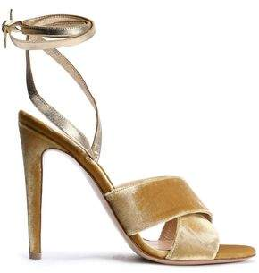 Gianvito Rossi Crissy Leather And Velvet Sandals