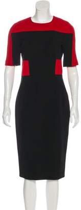 Victoria Beckham Short Sleeve Bodycon Midi Dress