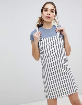 Monki Stripe Overall Mini Dress