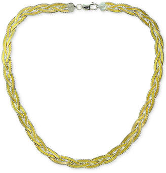 Giani Bernini Two-Tone Braided Collar Necklace in 18k Gold-Plated Sterling Silver, Created for Macy's