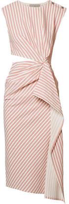 Jason Wu Cutout Striped Seersucker Midi Dress - Red