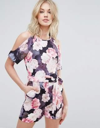 Oasis Exposed Shoulder Floral Print Romper $92 thestylecure.com