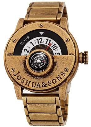 Joshua & Sons Gold Tone Quartz Watch With Brass Strap [JX139YG]