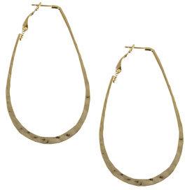 Oval Hammered Hoop Earring