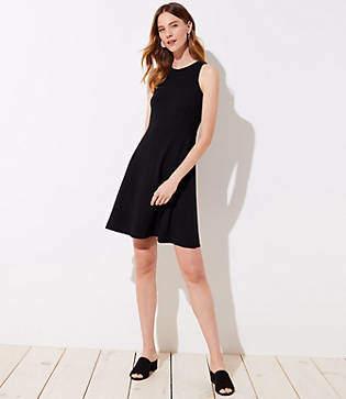 LOFT Petite Ponte Pocket Flare Dress