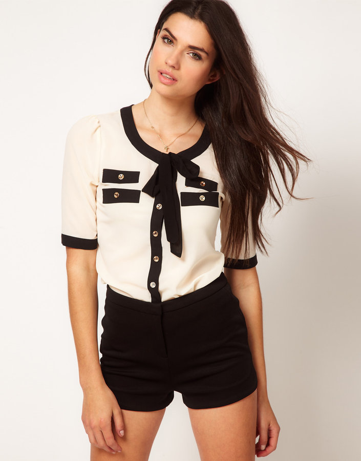 Lipsy Tie Front Blouse With Contrast Trim