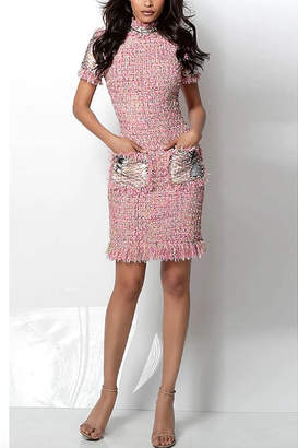 Jovani Pink Multi Knit Short Sleeve Cocktail Dress