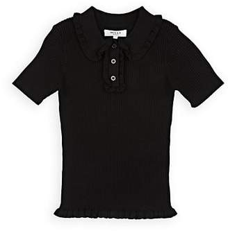 Milly Kids' Ruffle Rib-Knit Polo Shirt - Black