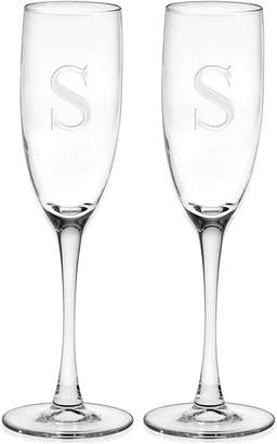 Culver Monogram Champagne Flutes, Set of 2