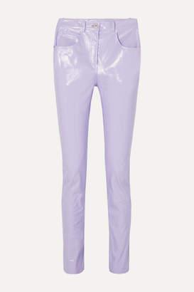 Pushbutton - Glossed-pu Skinny Pants - Lilac
