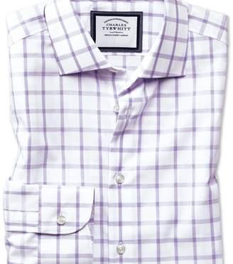 Charles Tyrwhitt Slim fit semi-cutaway non-iron business casual purple check shirt