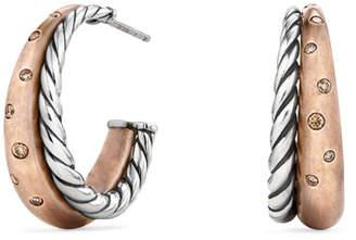 David Yurman Pure Form Bronze & Silver Hoop Earrings with Cognac Diamonds