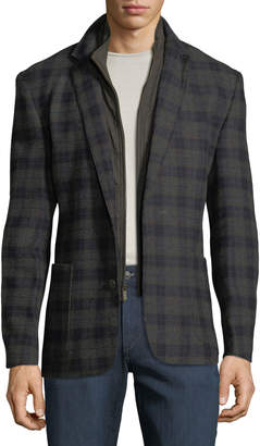 English Laundry Men's Butler Plaid Blazer w/ Zip-Out Bib