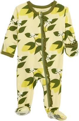 Kickee Pants Citrus Print Ruffle Zip Footie