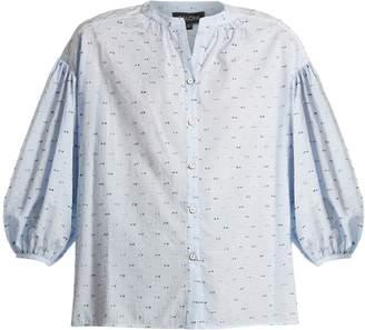 Saloni Bette cotton-blend seersucker shirt