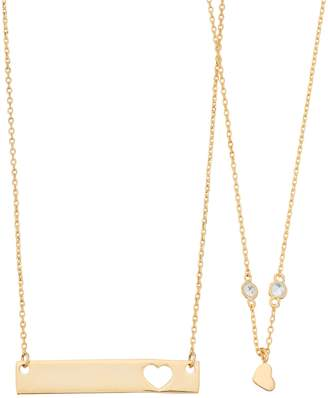 Best Friends Heart & Bar Necklace Set