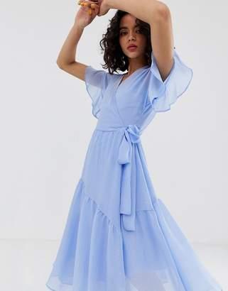 Vero Moda midi wrap dress with asymmetric hem