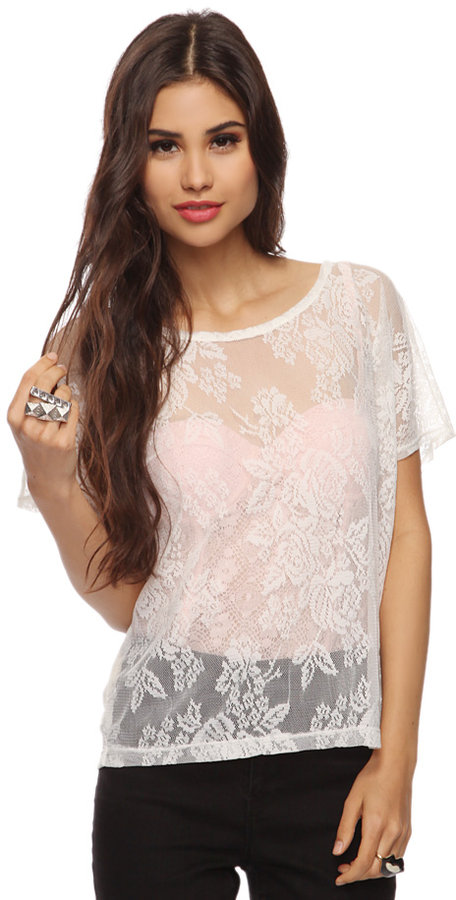 Forever 21 Style deals Boxy Lace Top