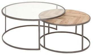DecMode Large Contemporary Metal, Glass & Wood Nesting Round Coffee Tables | Set of 2