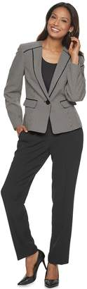 Le Suit Women's Birdseye Print 1 Button Jacket & Pant Suit