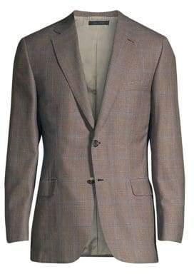 Brioni Virgin Wool, Silk & Linen Windowpane Jacket