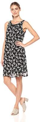 Robbie Bee Women's Floral Printed Chiffon Shift Dress