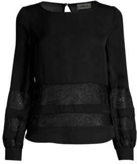 L'Agence Women's Petra Lace Panel Blouse - Black - Size Small