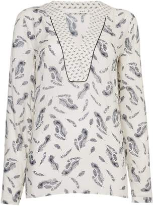 Oui Feather print blouse