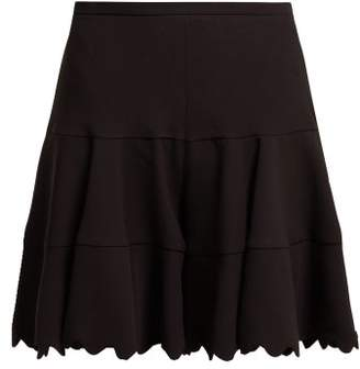 Chloé Scallop Edge Tiered Crepe Shorts - Womens - Black