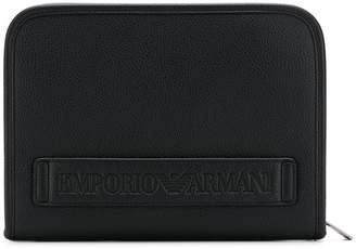 Emporio Armani embossed logo document holder