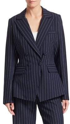 Jonathan Simkhai Women's Pinstripe Tailor-Fit Blazer - Midnight Pinstripe - Size 0