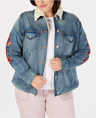 Style&Co. Style & Co Plus Size Embroidered Denim Trucker Jacket